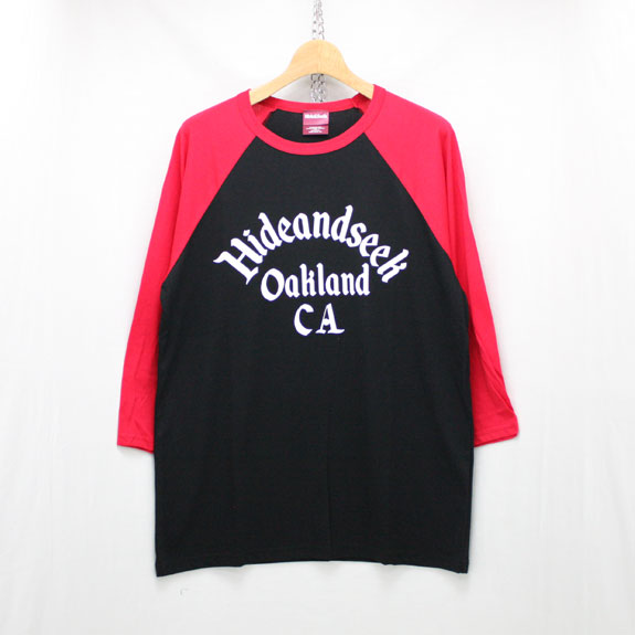 HIDE&SEEK Oakland CA Raglan Baseball Shirt:BLACK×RED