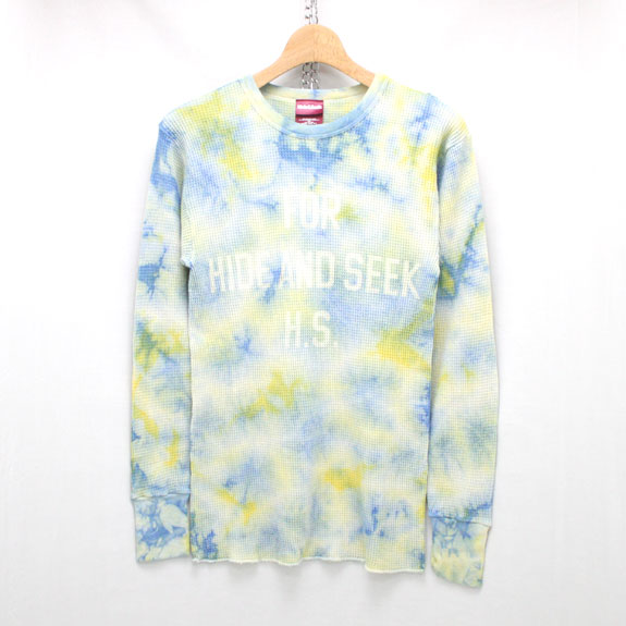 HIDE&SEEK Tie-dye Thermal L/S Shirt:YELLOW TIEDYE