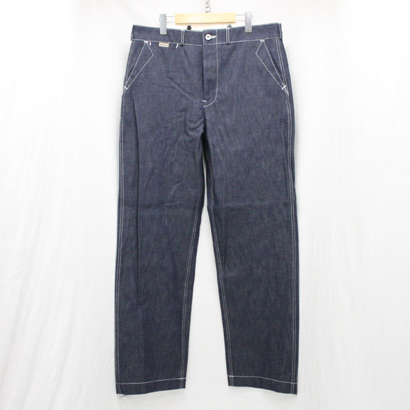 BELAFONTE RAGTIME WHITE STITCH DENIM TROUSERS with CINCH BACK 10.5oz INDIGO DENIM