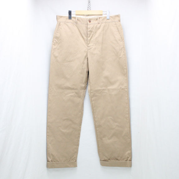 BELAFONTE RAGTIME CHINO CLOTH TROUSERS with CINCH BACK:HEAVY BEIGE CHINO CLOTH