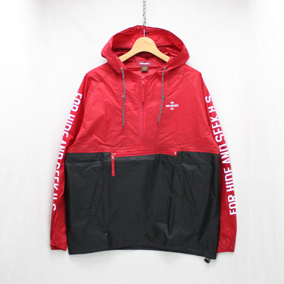 HIDE&SEEK Nylon Food JKT (17ss):BLACK×RED