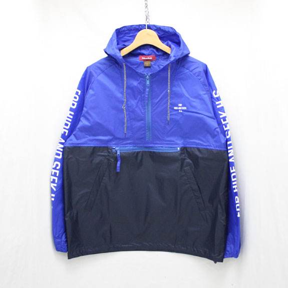HIDE&SEEK Nylon Food JKT (17ss):NAVY×BLUE