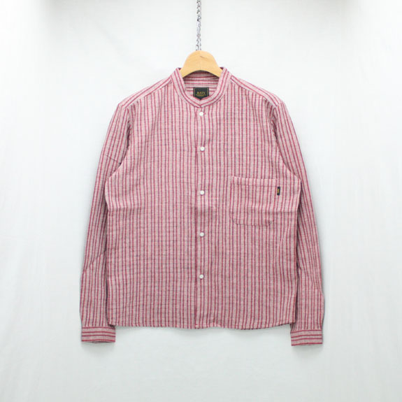RATS STAND COLLAR STRIPE SHIRT:BURGUNDY