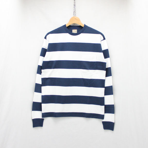 BELAFONTE RAGTIME DECK STRIPE L/S T:NAVY×OFF WHITE