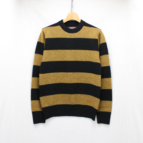 HIDE&SEEK Wool Border L/S KNIT:BLACK×YELLOW