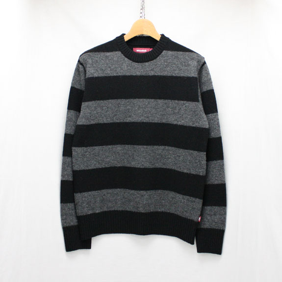 HIDE&SEEK Wool Border L/S KNIT:BLACK×C-GRAY