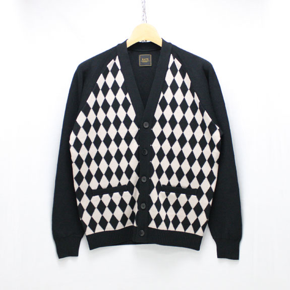 RATS DIAMOND PATTERN COTTON CARDIGAN:BLACK