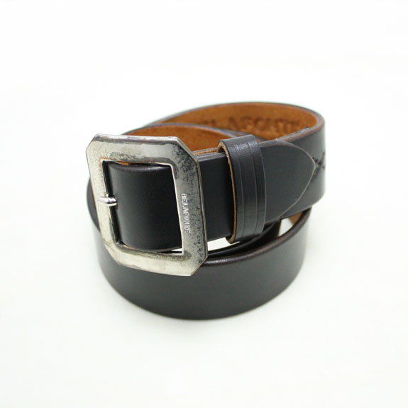 BELAFONTE RAGTIME LEATHER BELT:BLACK×SILVER BUCKLE