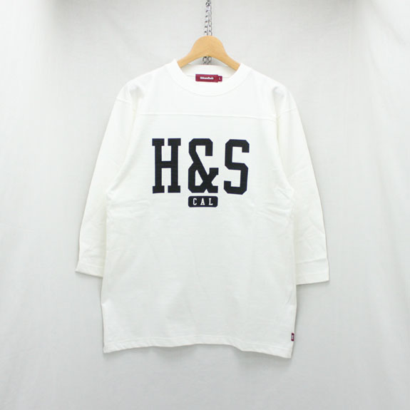 HIDE&SEEK Football 3/4 Sleeve Shirt (18ss):WHITE
