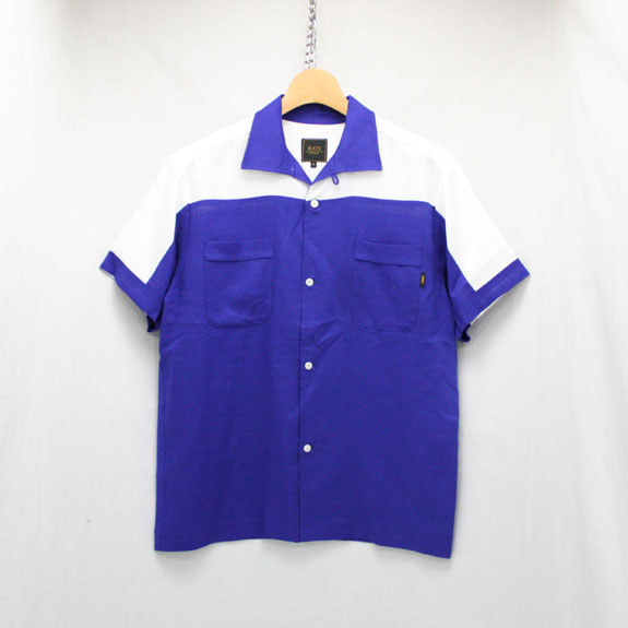 RATS BOWLING SHIRT:NAVY×WHITE