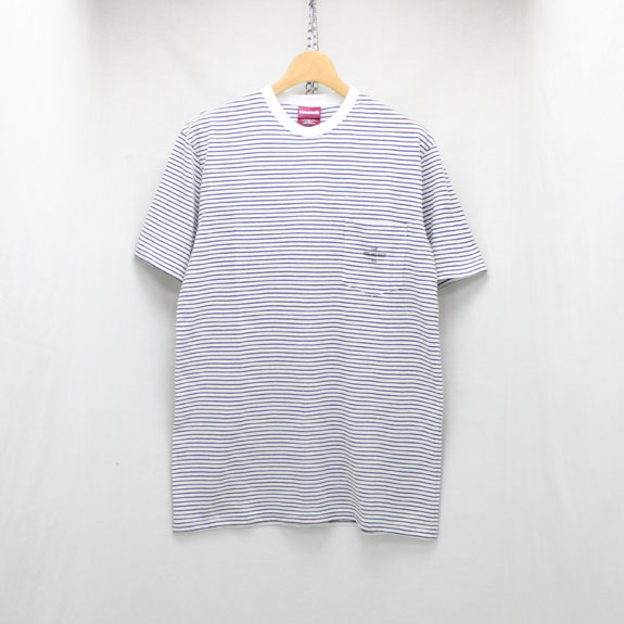 HIDE&SEEK Border Pocket S/S Tee:WHITE×BLACK