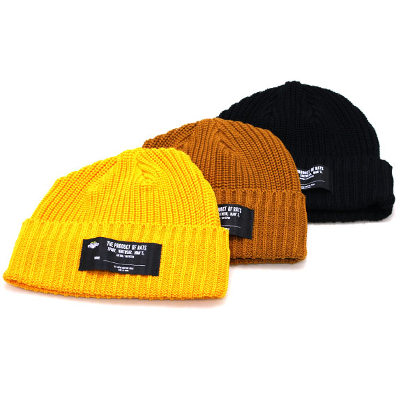 RATS COTTON KNIT CAP : Black , Yellow , Brown