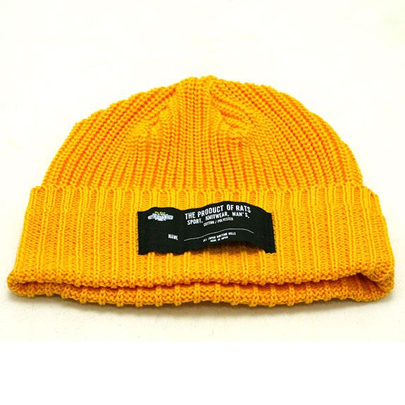 RATS COTTON KNIT CAP : Black , Yellow , Brown