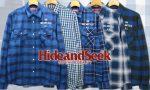 今時期に着たい! HIDE&SEEK ブルー系チェックシャツ